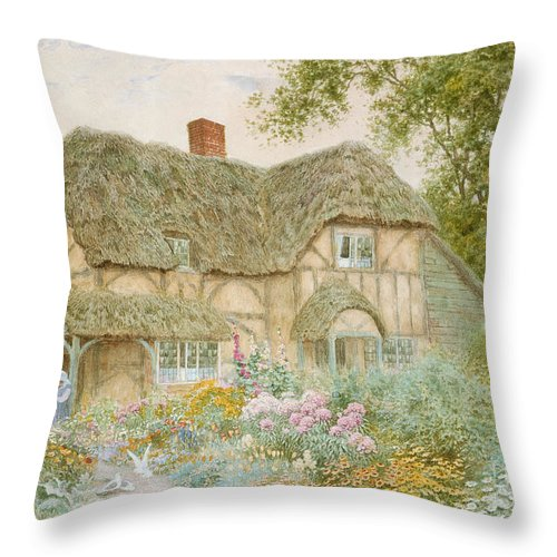 A Surrey Cottage (w/c) By Arthur Claude Strachan (1865-1935) Throw Pillow featuring the painting A Surrey Cottage by Arthur Claude Strachan