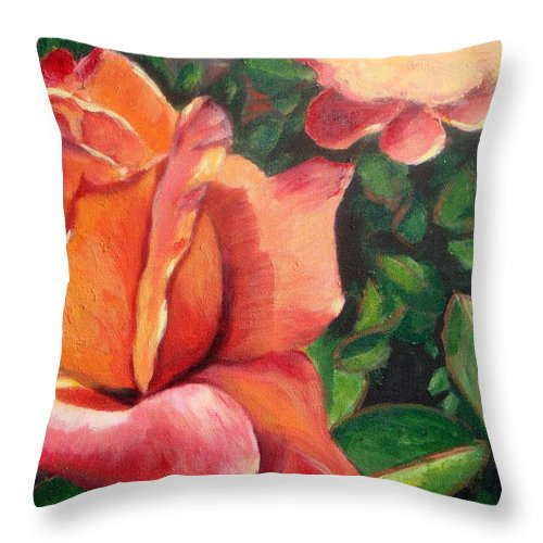 Rose Throw Pillow featuring the painting A Tale Of Two Roses by Laurie Morgan