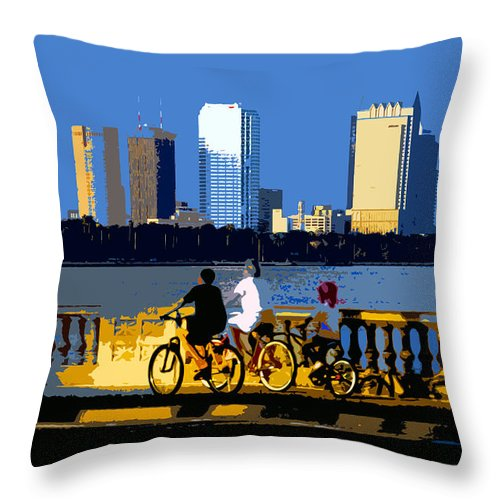 Tampa Bay Florida Throw Pillow featuring the painting A Tampa Bay Florida Summer by David Lee Thompson