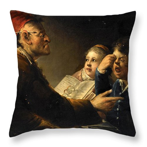 German School Throw Pillow featuring the painting A Teacher And His Pupils by German School
