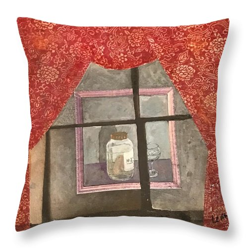Abstract Throw Pillow featuring the painting A Toast by Leah Tomaino