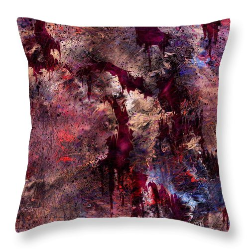 Abstract Throw Pillow featuring the digital art A Tortured Heart by Rachel Christine Nowicki