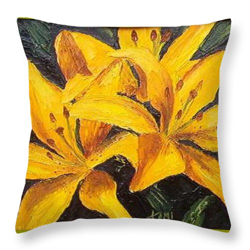 Throw Pillow featuring the painting A Touch Of Gold by Tami Booher