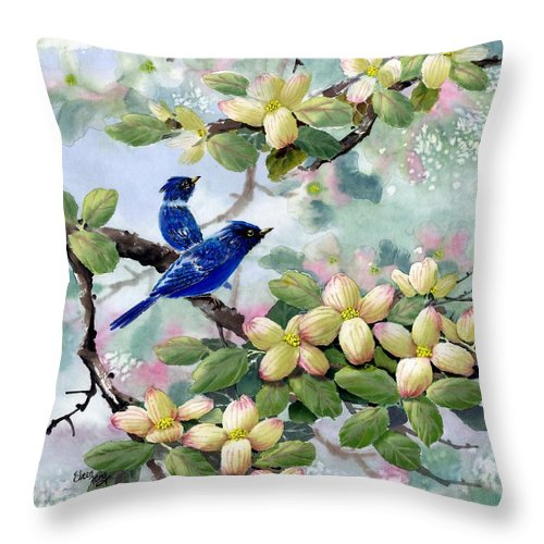 Blue Jays Throw Pillow featuring the painting A Touch Of Pink On White by Eileen Fong