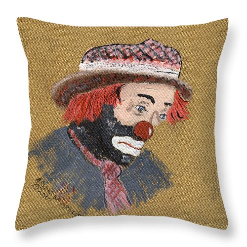 Clowns Throw Pillow featuring the painting A Tribute To All Clowns by Arlene Wright-Correll