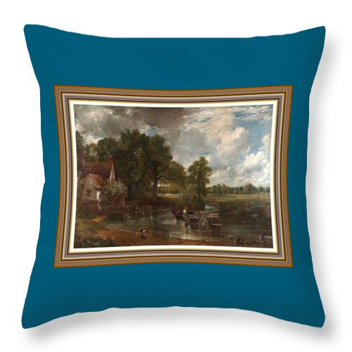 The Hay Wain Throw Pillow featuring the painting A Tribute To John Constable Catus 1 No. 1 -the Hay Wain L B With Alt. Decorative Ornate Frame. by Gert J Rheeders