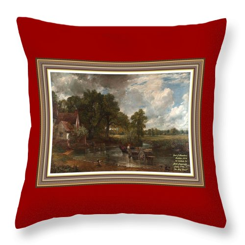 John Constable Throw Pillow featuring the painting A Tribute To John Constable Catus 1 No.1 - The Hay Wain L A With Alt. Decorative Ornate Printed Fr by Gert J Rheeders