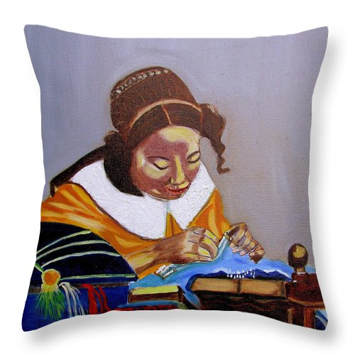 Pastiche Throw Pillow featuring the painting A Tribute To Vermeer The Lacemaker by Rusty Gladdish