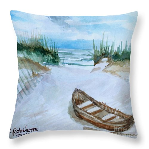 Landscape Throw Pillow featuring the painting A Trip To The Beach by Elizabeth Robinette Tyndall