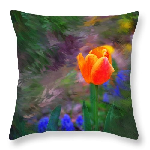 Floral Throw Pillow featuring the digital art A Tulip Stands Alone by David Lane