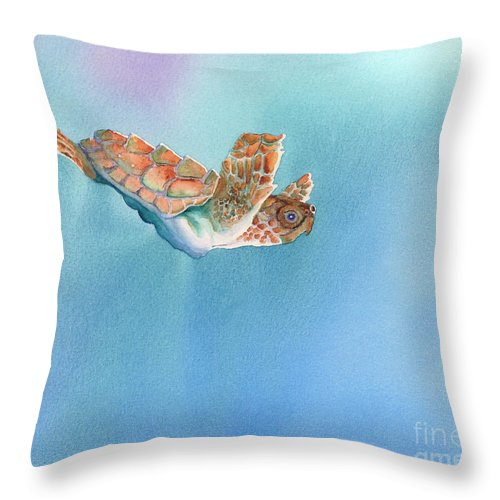 Sea Throw Pillow featuring the painting A Turtles Flight by Tracy L Teeter