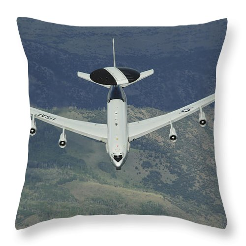 Awacs Throw Pillow featuring the photograph A U.s. Air Force E-3 Sentry Airborne by Stocktrek Images