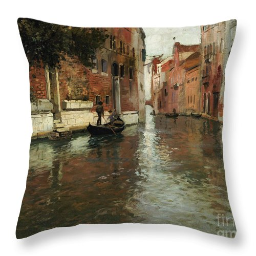 Venice Throw Pillow featuring the painting A Venetian Backwater by Fritz Thaulow