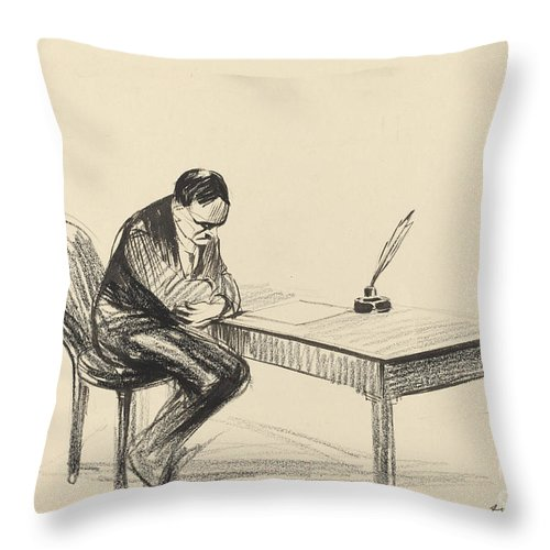 Throw Pillow featuring the drawing A Versailles Juillet 1919 by Jean-louis Forain