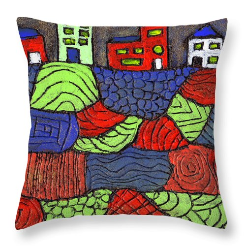 Whimsical Throw Pillow featuring the painting A Very Colorful Neighborhood by Wayne Potrafka