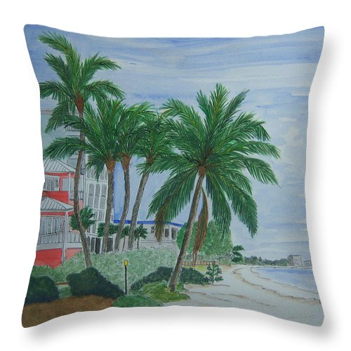 Beach Throw Pillow featuring the painting A View Down Ft. Myers Beach by Nancy Nuce