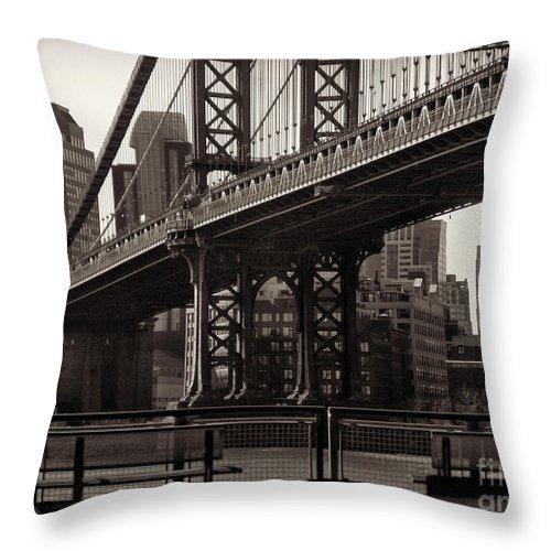 Bridge Throw Pillow featuring the photograph A View From The Bridge - Manhattan Bridge New York by Miriam Danar