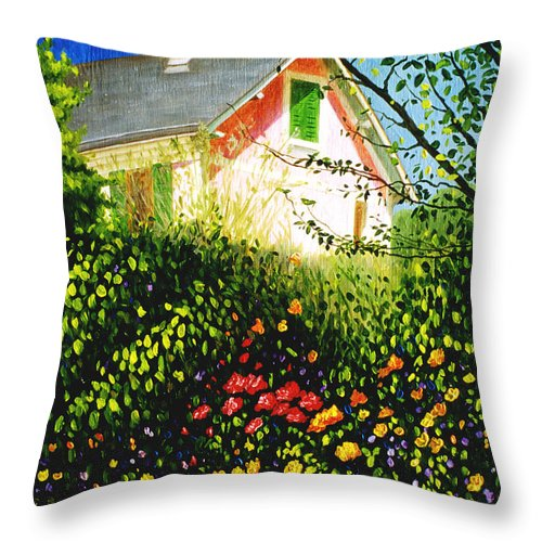 Monets House Throw Pillow featuring the painting A View Of Monets House In Giverny France by Gary Hernandez