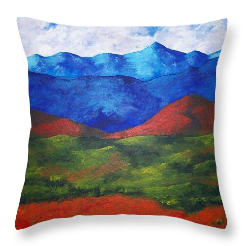 Art & Collectibles Painting Acrylic White Blue Green Red Pink Yellow Orange Art Adirondack Mountains Upstate New York State Park Ny Landscape Colorful Bright Sky Nature Art Autumn Fall Wilderness Throw Pillow featuring the painting A View Of The Blue Mountains Of The Adirondacks by Mike Kraus