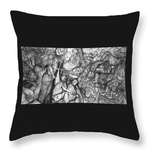 Graphite; Ethnic; Spiritual; Fragmented Art;drawing Throw Pillow featuring the drawing A Village by Arlene Rabinowitz