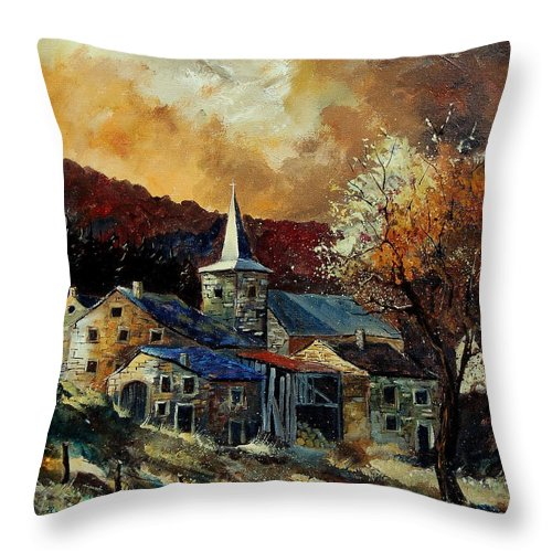Tree Throw Pillow featuring the painting A Village In Autumn by Pol Ledent