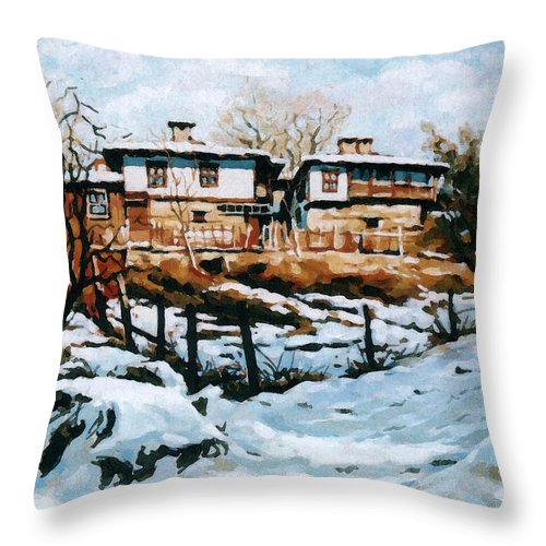 Landscape Throw Pillow featuring the painting A Village In Winter by Iliyan Bozhanov