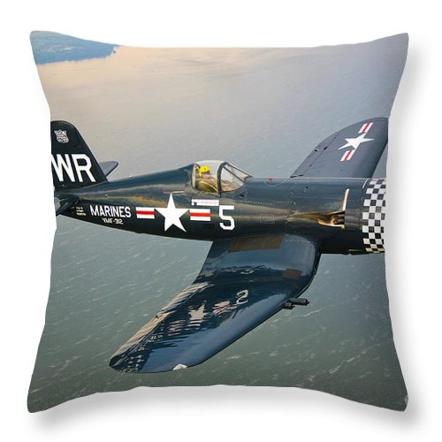 Transportation Throw Pillow featuring the photograph A Vought F4u-5 Corsair In Flight by Scott Germain