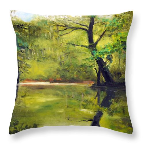 A Waccamaw Evening Throw Pillow featuring the painting A Waccamaw Evening by Phil Burton