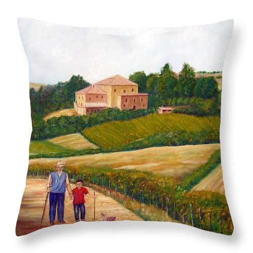 Landscape Throw Pillow featuring the painting A Walk In The Clouds by Leonardo Ruggieri
