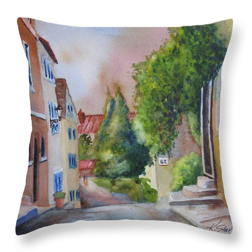 Cityscapes. Architecture Throw Pillow featuring the painting A Walk In The Village by Karen Stark
