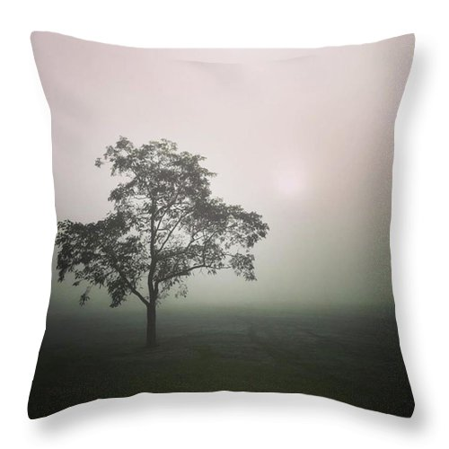Fog Throw Pillow featuring the photograph A Walk Through The Clouds #fog #nuneaton by John Edwards
