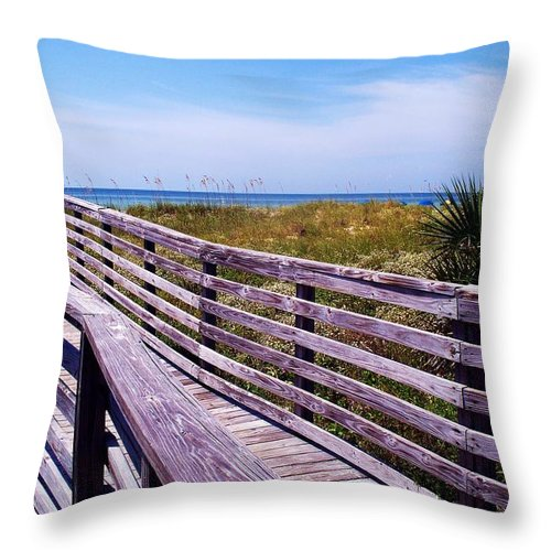 Beach Throw Pillow featuring the photograph A Walk To The Beach by Robin Monroe
