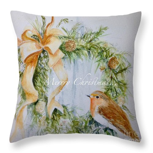 Robin Throw Pillow featuring the painting A Welcome Visitor by Lizzy Forrester
