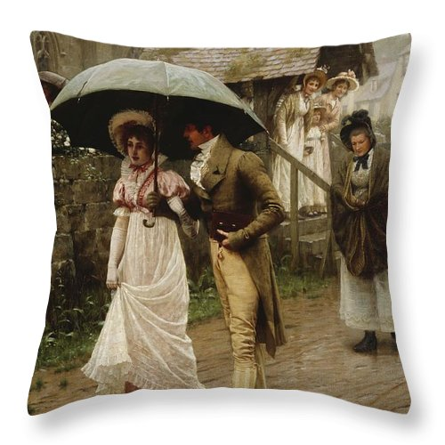 A Wet Sunday Morning Throw Pillow featuring the painting A Wet Sunday Morning by Edmund Blair Leighton