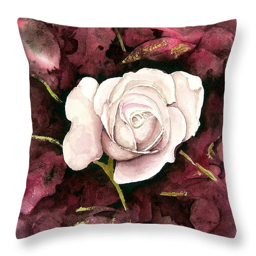 Flower Throw Pillow featuring the painting A White Rose by Sam Sidders