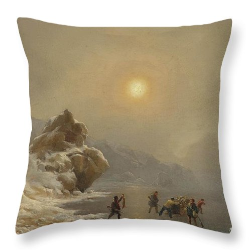 Andreas Achenbach - A Winter Landscape With Hunters On The Ice Throw Pillow featuring the painting A Winter Landscape With Hunters On The Ice by Celestial Images