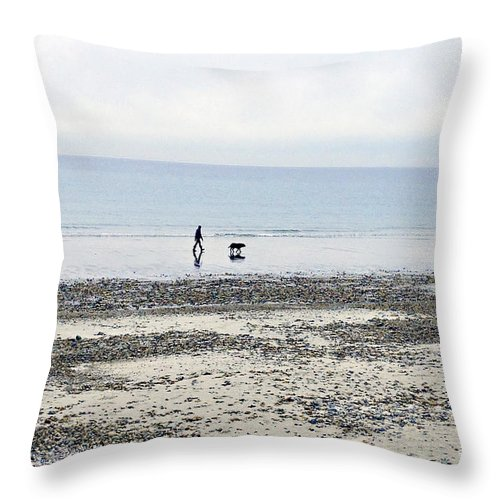 Beach Throw Pillow featuring the photograph A Winter's Walk by Roxanne Marshal