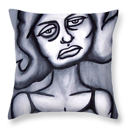 Portait Throw Pillow featuring the painting A Woman by Thomas Valentine