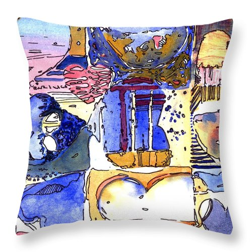 Valentine Throw Pillow featuring the painting A Zanny Valentine by Mindy Newman