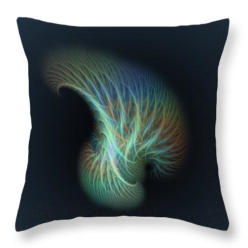 Fractal Throw Pillow featuring the digital art a013 Shaving Brush Of An Elf by Drasko Regul