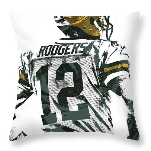 Aaron Rodgers Throw Pillow featuring the mixed media Aaron Rodgers Green Bay Packers Pixel Art 5 by Joe Hamilton