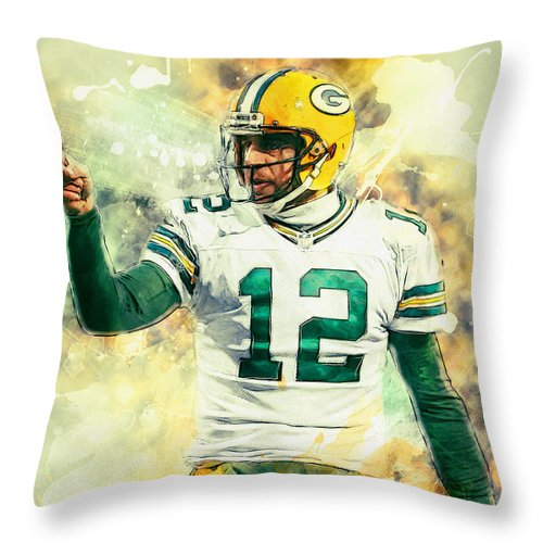 Aaron Rodgers Throw Pillow featuring the painting Aaron Rodgers by Zapista Zapista