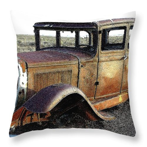 Arizona Throw Pillow featuring the photograph Abandonded Along Rt 66 by Nelson Strong