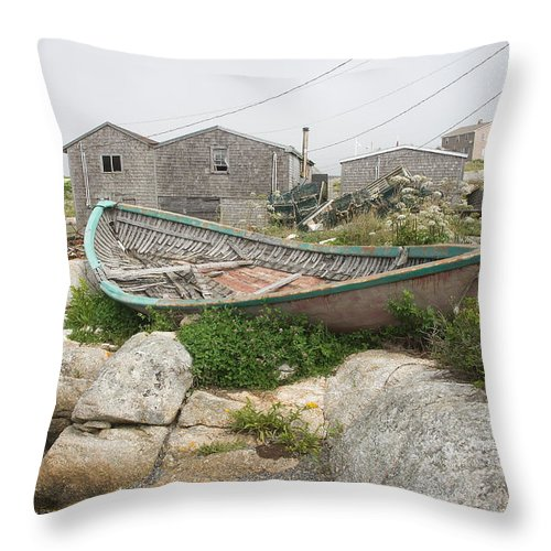 Boat Throw Pillow featuring the photograph Abandoned Boat Ashore by Steve Somerville