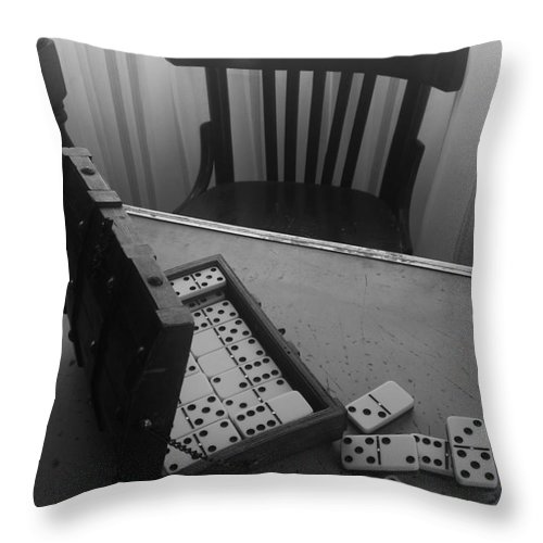 Domino Chair Wood Black And White Throw Pillow featuring the photograph Abandoned Domino Set by Mina Milad