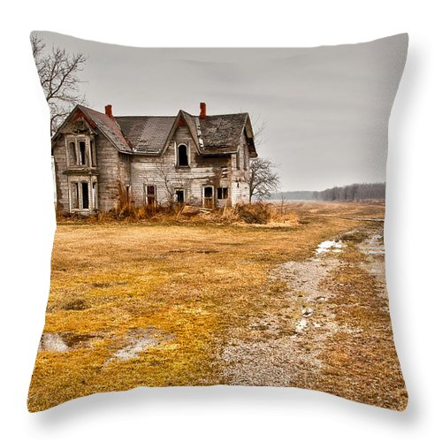 Abandoned Throw Pillow featuring the photograph Abandoned Farm House by Cale Best