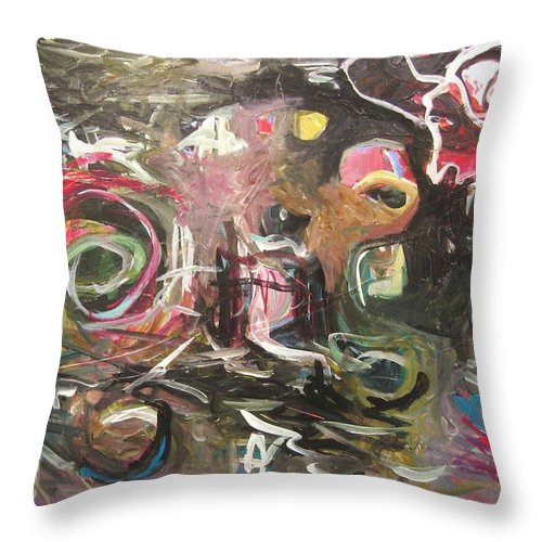 Abstract Paintings Throw Pillow featuring the painting Abandoned Idea2 by Seon-Jeong Kim