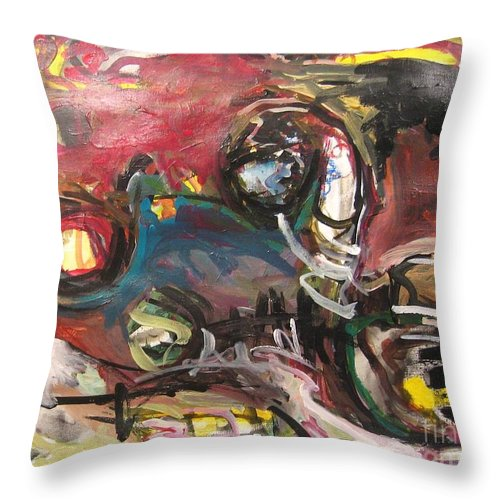 Abstract Paintings Throw Pillow featuring the painting Abandoned Ideas by Seon-Jeong Kim