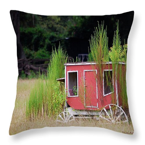 Carriage Throw Pillow featuring the digital art Abandoned In The Field by DigiArt Diaries by Vicky B Fuller