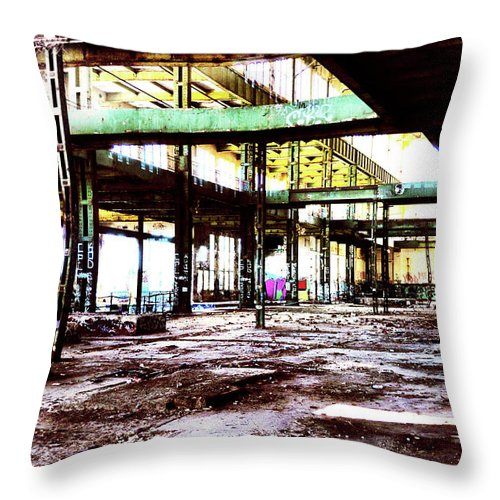 Graffiti Throw Pillow featuring the photograph Abandoned Industry by Phill Petrovic